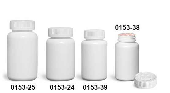 Plastic Bottles, White HDPE Wide Mouth Pharmaceutical Round Bottles w/ White Induction Lined Child Resistant Caps
