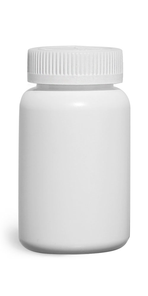 200 cc Plastic Bottles, White HDPE Pharmaceutical Rounds w/ White Child Resistant Induction Lined Caps