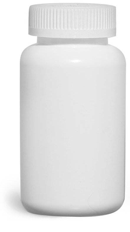 250 cc Plastic Bottles, White HDPE Pharmaceutical Rounds w/ White Child Resistant Induction Lined Caps