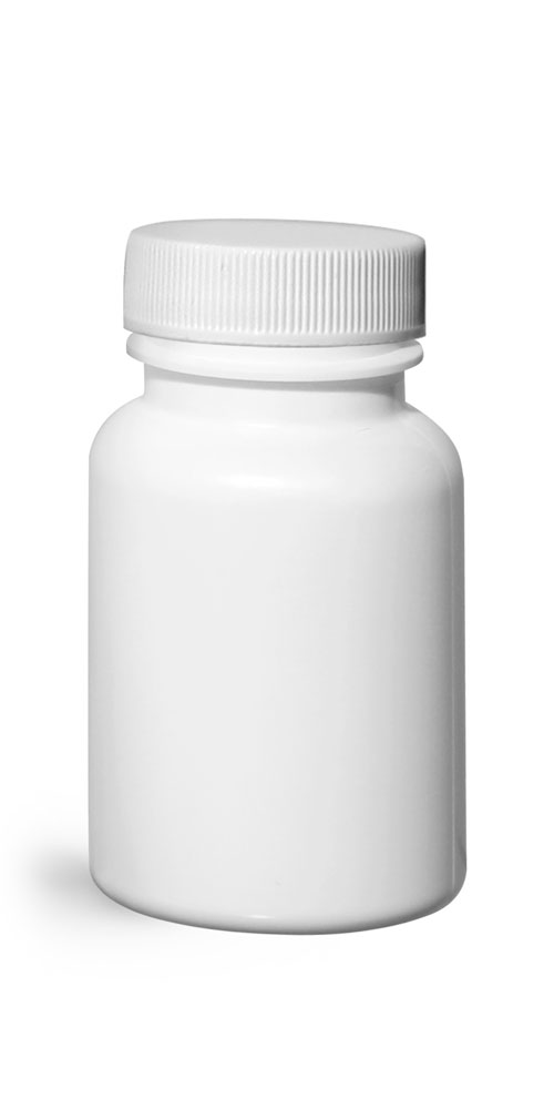 75 cc Plastic Bottles, White HDPE Wide Mouth Pharmaceutical Rounds w/ White Lined Caps