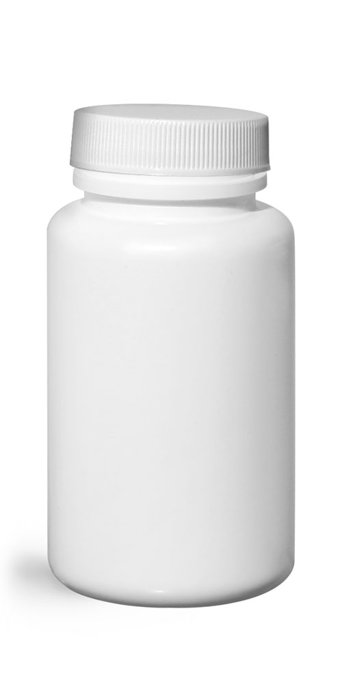120 cc Plastic Bottles, White HDPE Wide Mouth Pharmaceutical Rounds w/ White Lined Caps