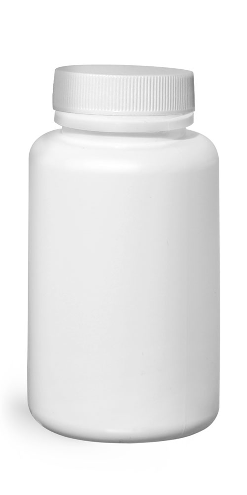 150 cc Plastic Bottles, White HDPE Wide Mouth Pharmaceutical Rounds w/ White Lined Caps