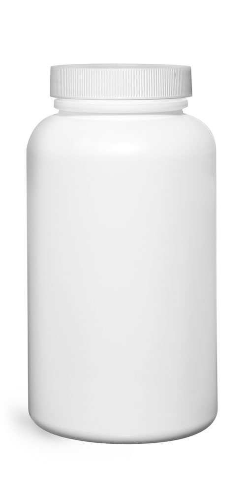 500 cc Plastic Bottles, White HDPE Wide Mouth Pharmaceutical Rounds w/ White Lined Caps