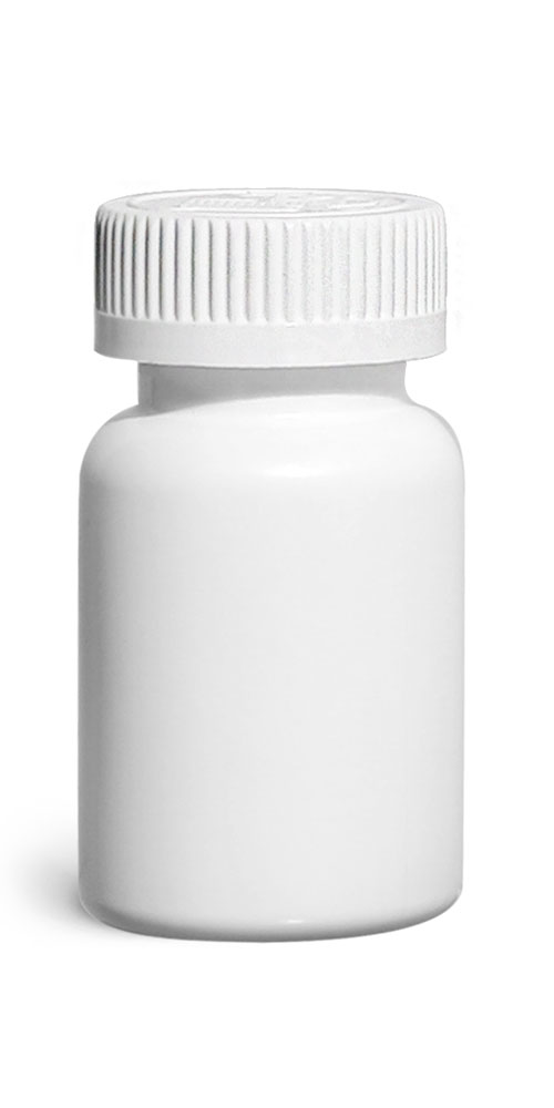 75 cc Plastic Bottles, White HDPE Wide Mouth Pharmaceutical Round Bottles w/ White Child Resistant Caps