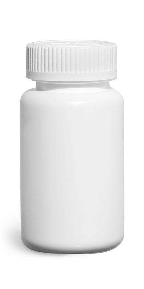 120 cc Plastic Bottles, White HDPE Wide Mouth Pharmaceutical Round Bottles w/ White Child Resistant Caps