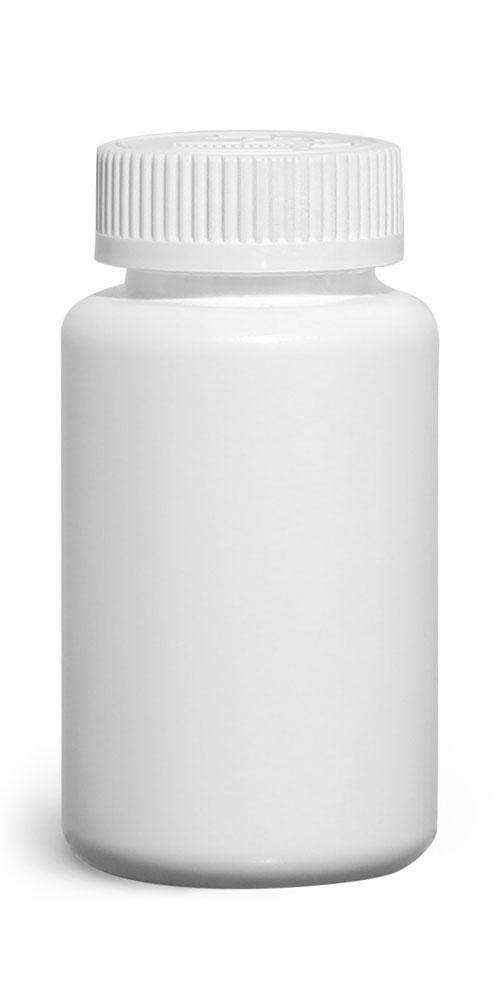 150 cc Plastic Bottles, White HDPE Wide Mouth Pharmaceutical Round Bottles w/ White Child Resistant Caps