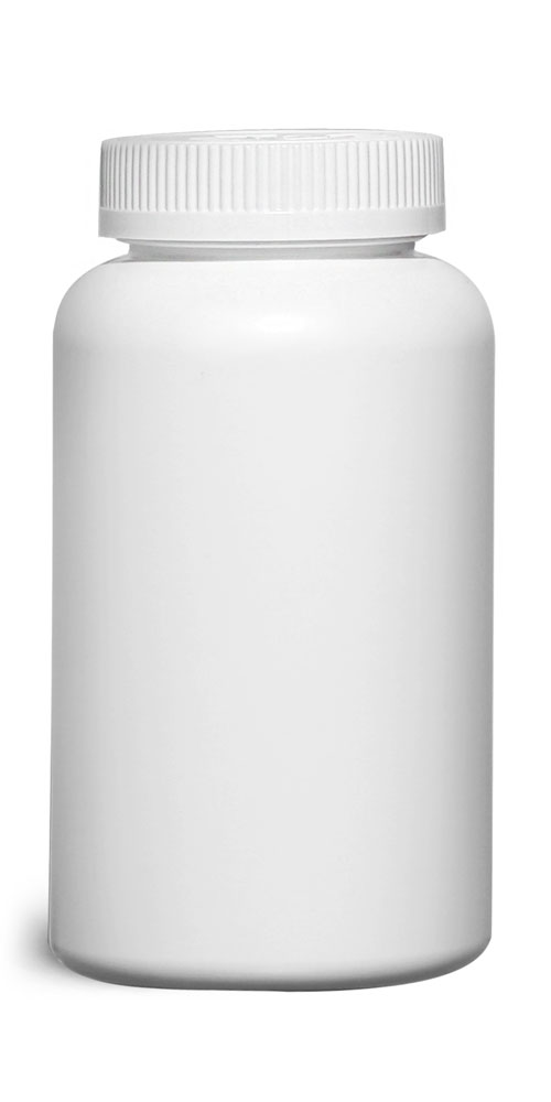 500 cc Plastic Bottles, White HDPE Wide Mouth Pharmaceutical Round Bottles w/ White Child Resistant Caps