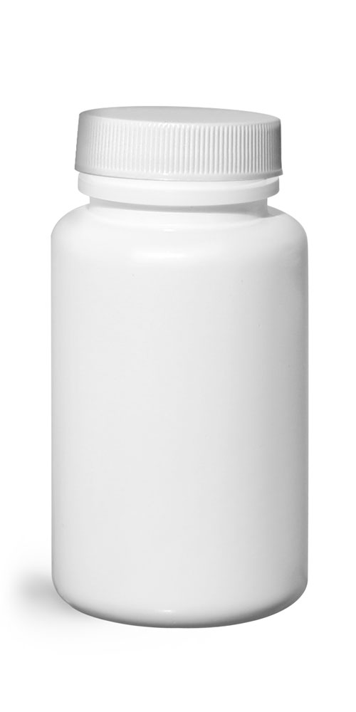 120 cc HDPE Plastic Bottles, White Pharmaceutical Round Bottles w/ White Ribbed Induction Lined Caps