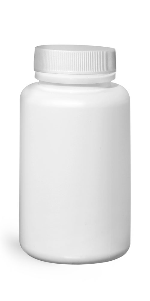 150 cc HDPE Plastic Bottles, White Pharmaceutical Round Bottles w/ White Ribbed Induction Lined Caps