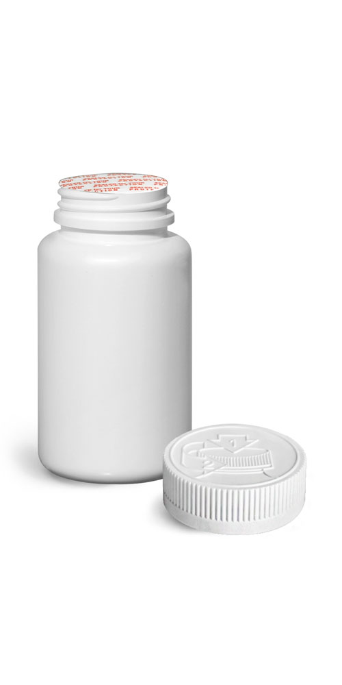 120 cc Plastic Bottles, White HDPE Wide Mouth Pharmaceutical Round Bottles w/ White Induction Lined Child Resistant Caps