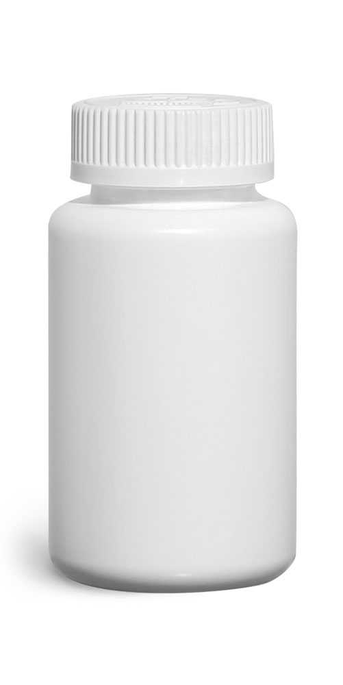 HDPE Plastic Bottles, White Pharmaceutical Round Bottles w/ White Induction Lined Child Resistant Caps