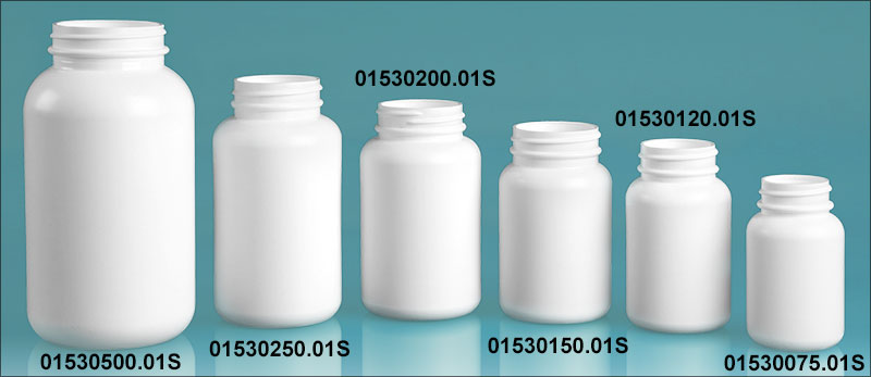 White HDPE Pharmaceutical Round (Bulk), Caps NOT Included