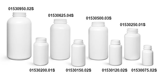 Plastic Bottles, White HDPE Pharmaceutical Rounds (Bulk), Caps NOT Included