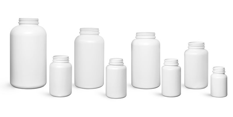White HDPE Pharmaceutical Round Bottles (Bulk), Caps NOT Included