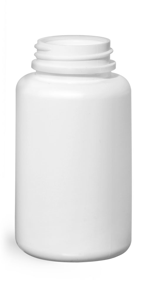 Plastic Bottles, White HDPE Pharmaceutical Round (Bulk), Caps NOT Included