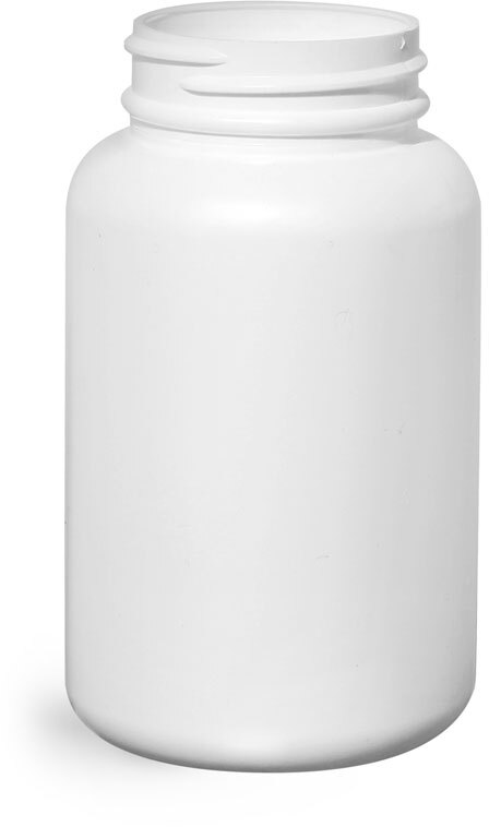 White HDPE Pharmaceutical Round Bottles (Bulk), Caps NOT Included