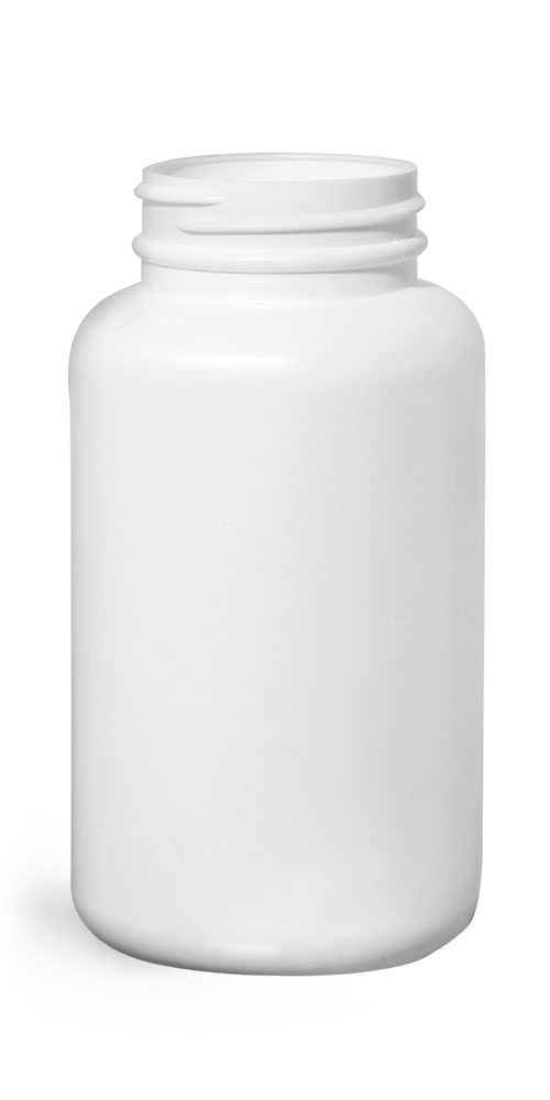 250 cc White HDPE Pharmaceutical Round Bottles (Bulk), Caps NOT Included