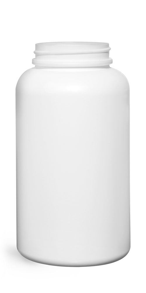 500 cc Plastic Bottles, White HDPE Pharmaceutical Round (Bulk), Caps NOT Included