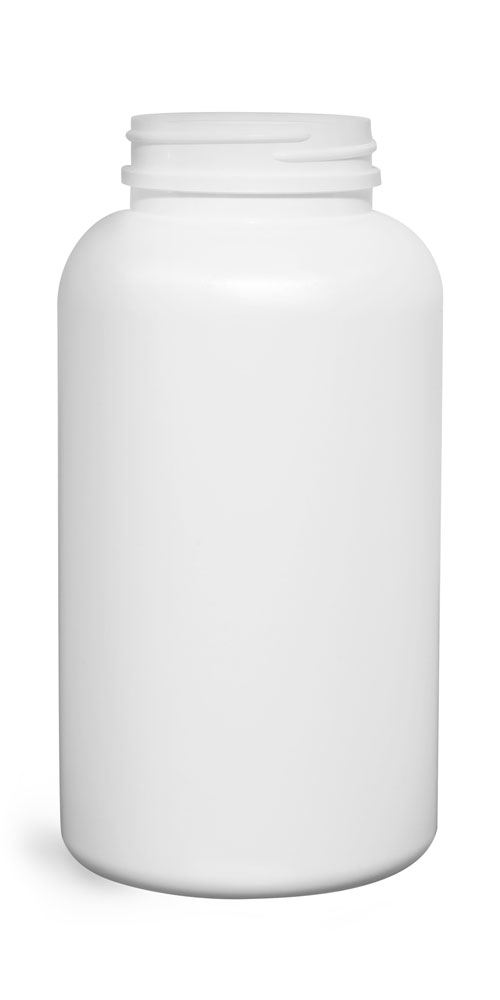Plastic Bottles, White HDPE Pharmaceutical Round (Bulk), Caps NOT Included