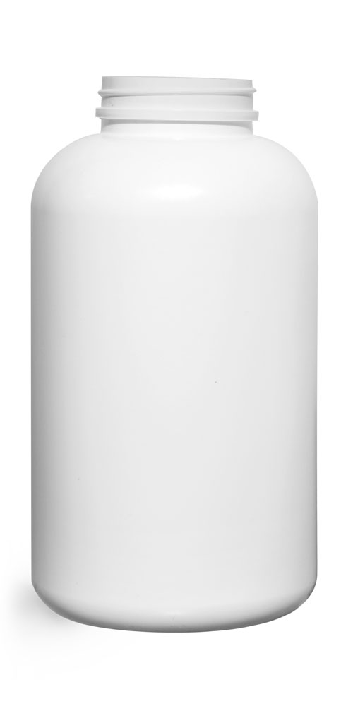 950 cc Plastic Bottles, White HDPE Pharmaceutical Round (Bulk), Caps NOT Included