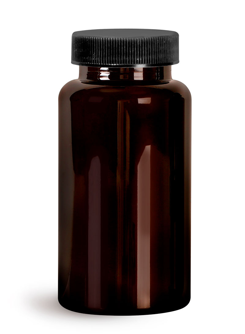 PET Plastic Bottles, Dark Amber Wide Mouth Packer Bottles w/ Black Ribbed PE Lined Caps