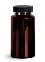 PET Plastic Bottles, Dark Amber Wide Mouth Packer Bottles w/ Black Ribbed PE Lined Caps