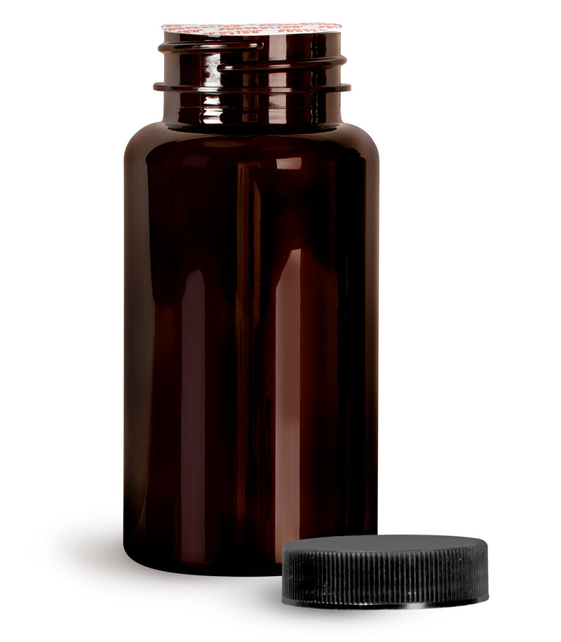 PET Plastic Bottles, Dark Amber Wide Mouth Packer Bottles w/ Black Ribbed Induction Lined Caps
