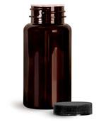 PET Plastic Bottles, Dark Amber Wide Mouth Packer Bottles w/ Black Ribbed Induction Lined Caps