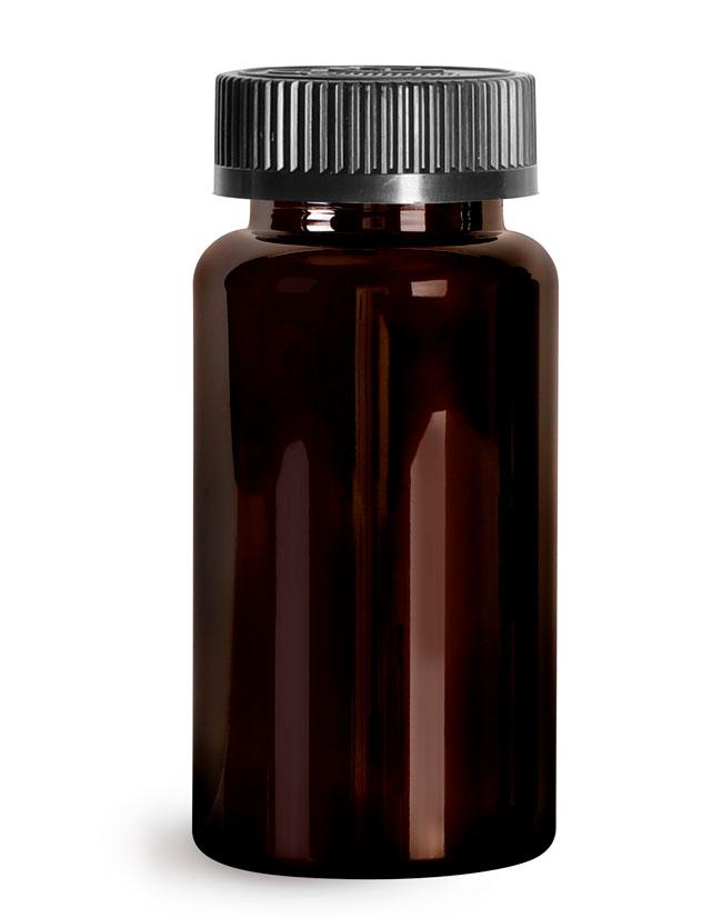 Plastic Bottles, Dark Amber PET Wide Mouth Packer Bottles w/ Black Child Resistant Caps