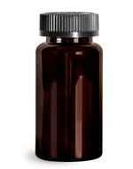 PET Plastic Bottles, Dark Amber Wide Mouth Packer Bottles w/ Black Child Resistant Caps