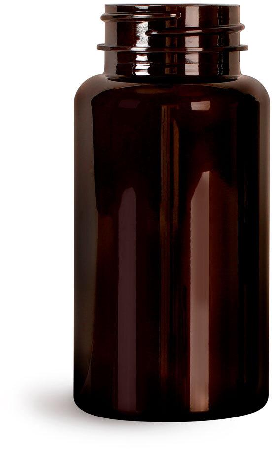 Dark Amber PET Wide Mouth Packer Bottles, (Bulk) Caps Not Included