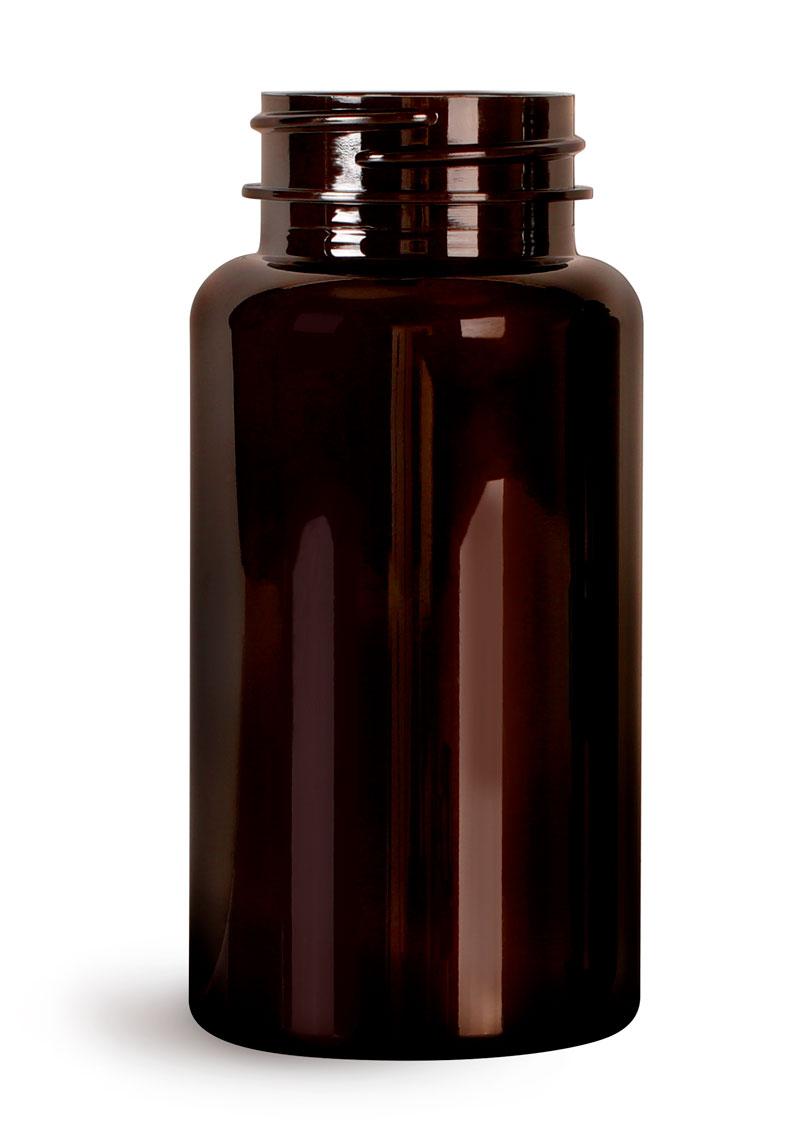 PET Plastic Bottles, 150 cc Dark Amber Wide Mouth Packer Bottles, (Bulk) Caps Not Included