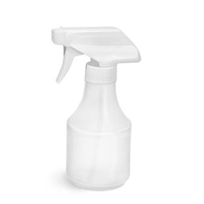 HDPE Plastic Bottles, Natural Spray Bottles w/ White Trigger Sprayers