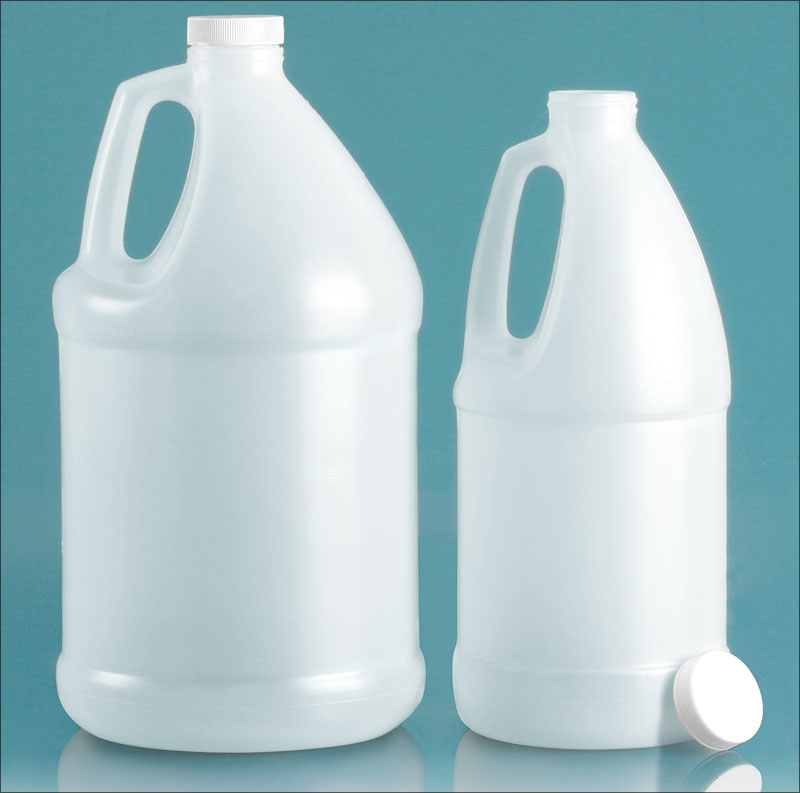 HDPE Plastic Jugs, Natural Jugs w/ White Ribbed Caps