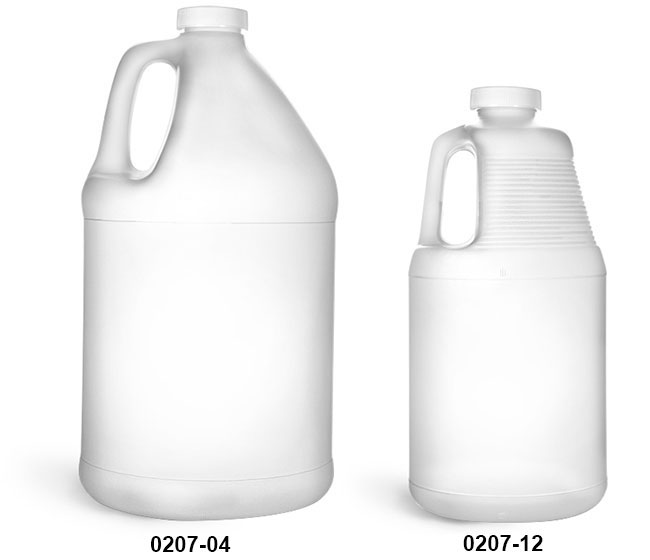 Plastic Jugs, HDPE Round Handle Jugs w/ White Ribbed Caps