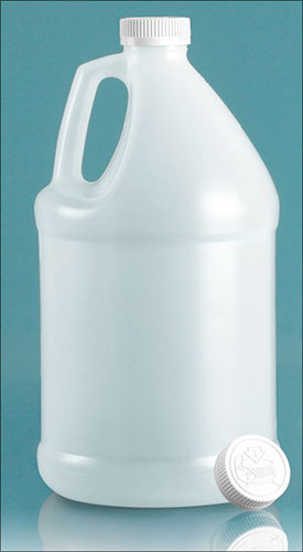HDPE Plastic Jugs, Natural Jugs w/ White Child Resistant Caps