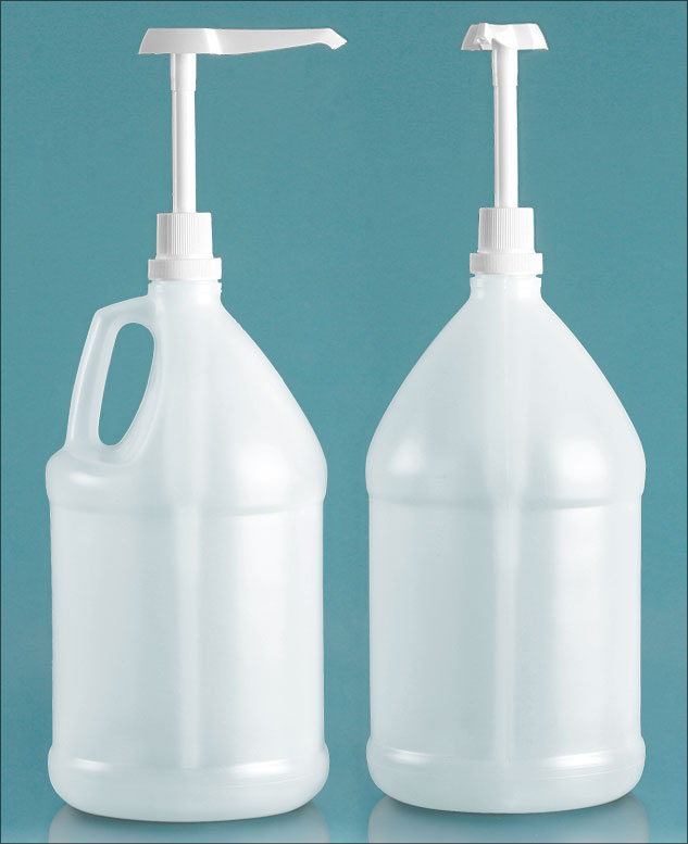 Plastic Bottles, Natural HDPE Jugs w/ White Industrial Pumps