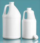 HDPE Plastic Jugs, White Round Jugs w/ White Ribbed Caps