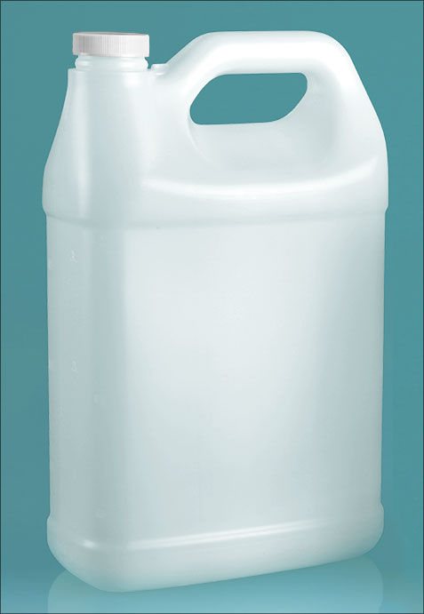 HDPE Plastic Jugs, Natural F-Style Jugs w/ Foam Induction Lined Caps