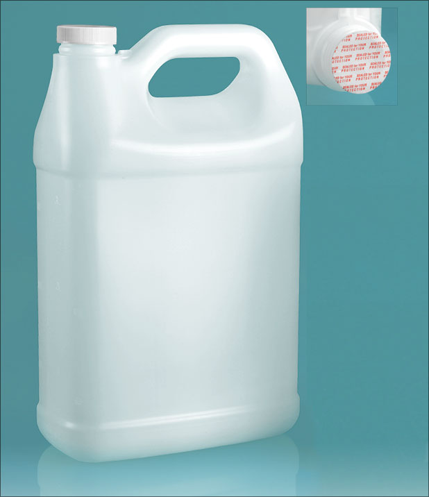 Plastic Jugs, Natural HDPE F-Style Jugs w/ Foam Induction Lined Caps