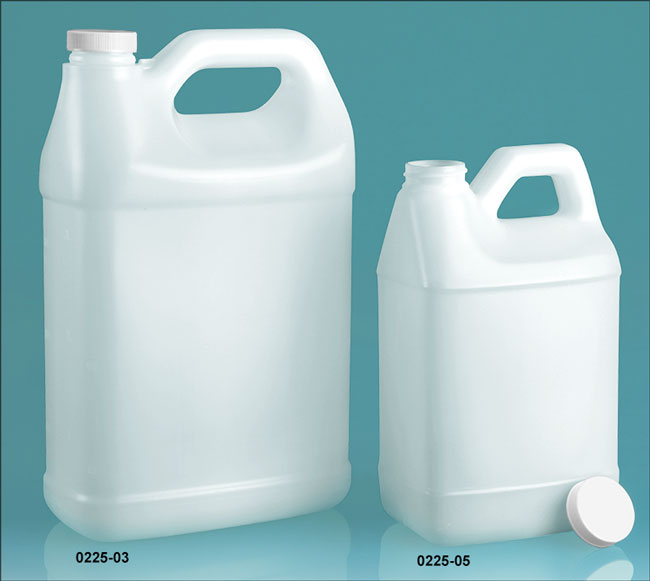 Plastic Jugs, Natural HDPE F-Style Jugs w/ Lined White Ribbed Caps