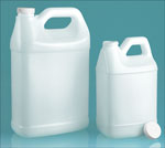 HDPE Plastic Jugs, Natural F-Style Jugs w/ PE Lined Caps