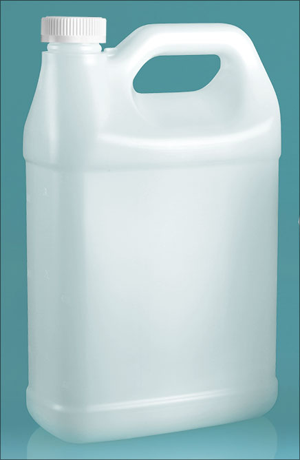 HDPE Plastic Jugs, Natural F-Style Jugs w/ White PE Lined Child Resistant Caps