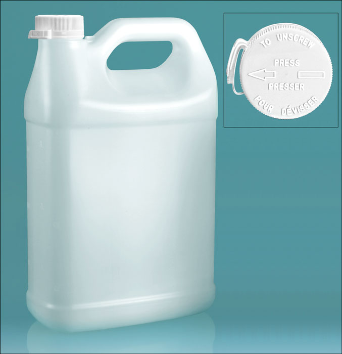 HDPE Plastic Jugs, Natural F-Style Jugs w/ White Lined Snap-Lok Child Resistant Caps