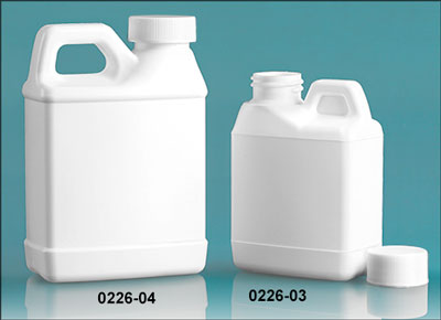 Plastic Jugs, White HDPE F-Style Jugs w/ White Lined Ribbed Caps
