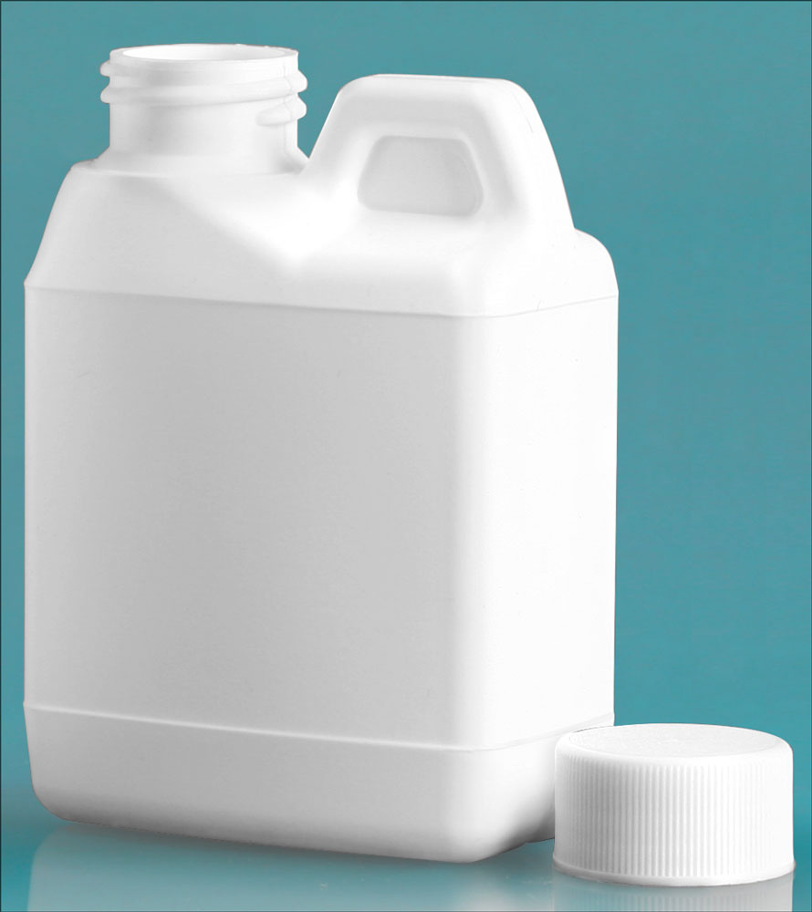 4 oz HDPE Plastic Jugs, White F-Style Jugs w/ White Lined Ribbed Caps