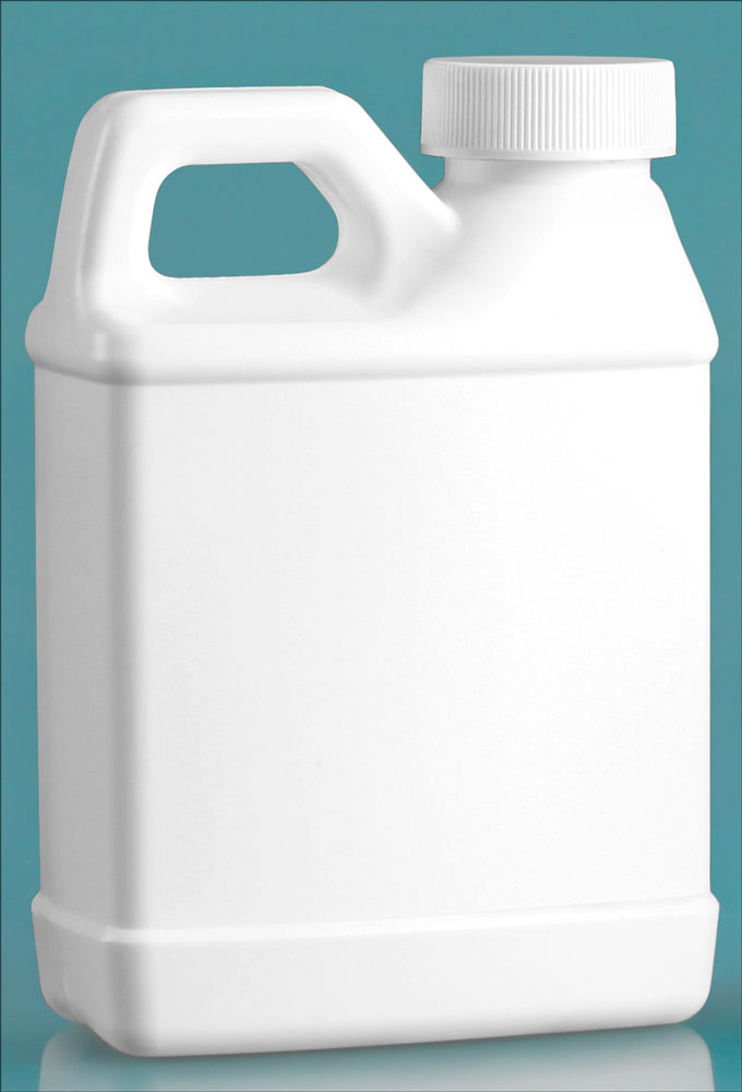 8 oz HDPE Plastic Jugs, White F-Style Jugs w/ White Lined Ribbed Caps