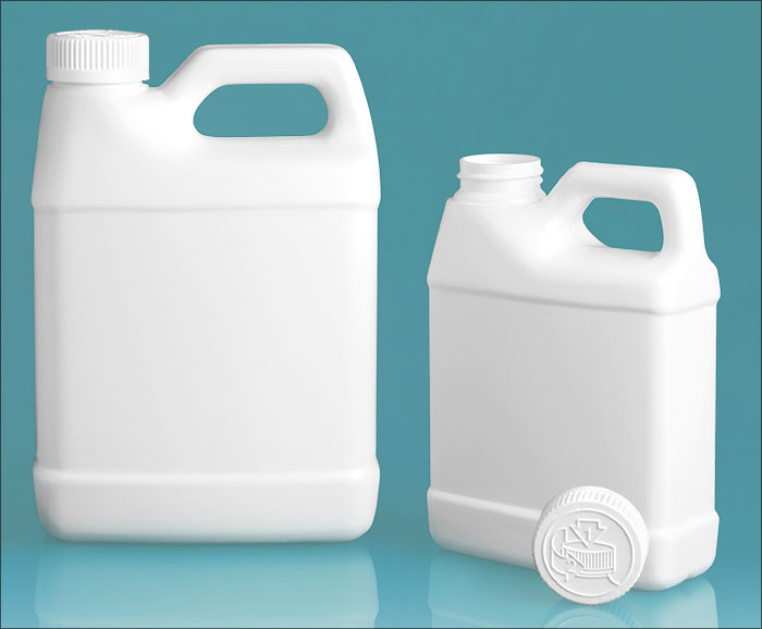 HDPE Plastic Jugs, White F-Style Jugs w/ White Child Resistant Caps