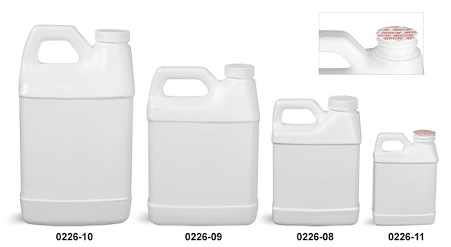 Plastic Jugs, White HDPE F-Style Jugs w/ Foam Induction Lined Caps