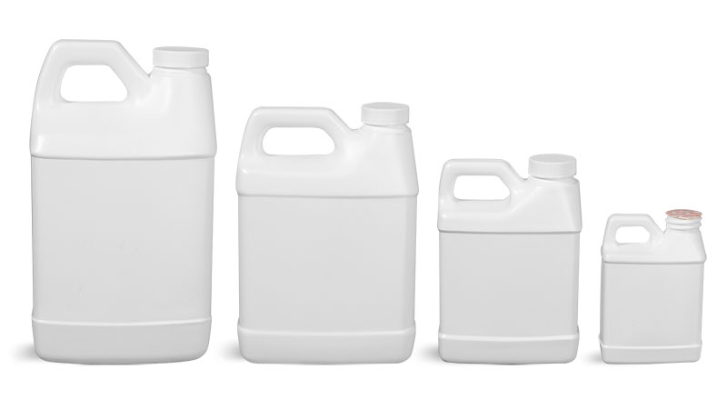 HDPE Plastic Jugs, White F-Style Jugs w/ Foam Induction Lined Caps